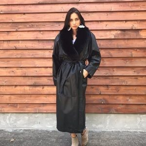 Vintage Black Leather Faux Fur Belt Trench Coat